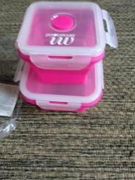 Kit 2 potes quadrado rosa de silicone