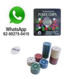 Ficha De Poker Com 100 Fichas + 2 Baralhos + Dealer - Promoção