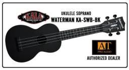 Ukulele Soprano Kala Waterman KA-SWB-BK preto resistente à agua top!