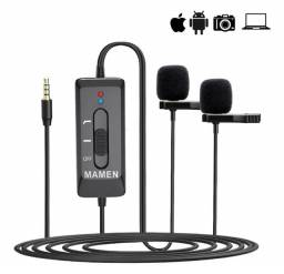 Microfone de lapela Mamen KM-D2PRO duplo.para celular e câmera