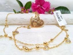 Colar com Pingente Mãe Coração Folheado a Ouro 18k Semijoia