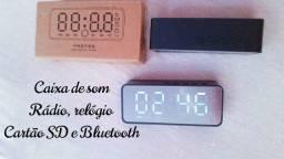 Despertador digital relógio de mesa sem fio bluetooth 5.0 alto-falante fm mão-livre
