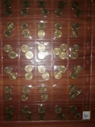 10 ctvs 1955 cartela com 44 moedas clas. Sob/Fc