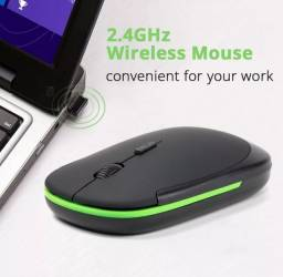 Título do anúncio: Mouse óptico silencioso sem fio usb 1600 ghz ultra fino