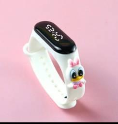 Relógio led infantil a prova d'água com design super led para meninas
