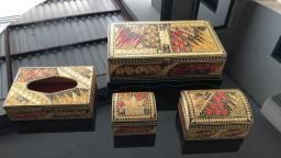 Jogo de caixas artesanais feitas com palha de arroz