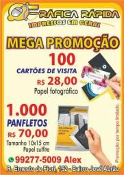 Promoção em panfletos e cartões