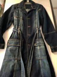 Sobretudo jeans adulto feminino M semi novo