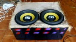 Subwoofer FB Audio 1600 rms 2ohms bobina simples sub woofer