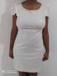 Vestido Branco\Perolado paetê