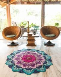 Tapete Mandala decoração emborrachado com tecido aveludado