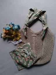 Bolsa de crochê alça de tecido + ecobag - mod02