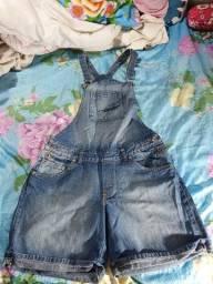 Jardineira feminina jeans