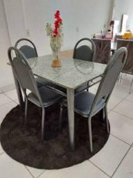 ?Conjunto de Mesa Granito Retangular com 04 Cadeiras Plaza 734D01CPRB - Ciplafe<br><br>