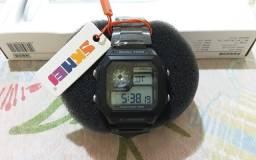 Relógio Masculino Digital Skmei 1335 Preto Com Pulseira de Aço Led Azul