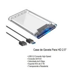 Case Novo Para Hd Externo Transparente Notebook Sata 2.5 Usb 3.0