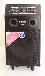 Caixa amplificadora multiuso pra karaokê, música ao vivo e música do celular!
