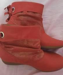 Imperdível!!! Bota Piccadilly for Girls tamanho 34 vermelha com detalhe glitter nova