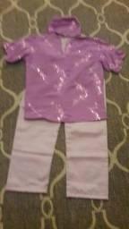 Conjunto lilas com calça, blusa e eketé