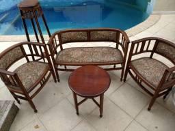 Jogo cadeiras, poltrona, mesa, bistrô marchetada anos 80 antiguidade colecionador