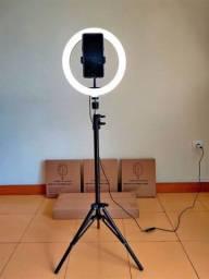 Ring Ligth Anel Luz 26cm 10 Polegadas Make Fotos Com Tripé 2 Metros Fotografia
