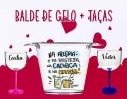 Dia dos Namorados Kit Balde + Taças