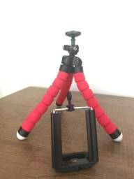 Mini tripé flexível regulável com suporte para celular