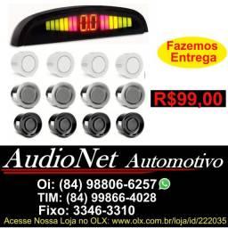 Sensor de Re Estacionamento Automotivo Veicular Preto Prata Branco Carro 18mm 4 Sensores