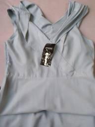 Vestido social longuete azul claro Sensitive 46 novo