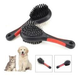 Escova Pet Dupla Face Com Cabo Para Banho e Tosa Gato e Cachorro