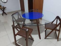 Tampo de mesa redondo de vidro