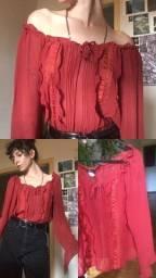 Blusa Vermelha Romântica