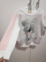 Casaco infantil rosa estampa de urso tam6 pouco usado