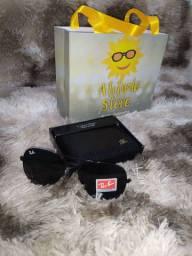 Óculos aviador primeira linha + carteira entrega grátis sacola
