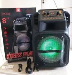 Caixa Amplificada com Rodas de Transporte Bluetooth Nova C/ Karaoke/ USB