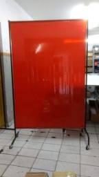 Cortina Solda padrão 1,22m x 1,78m em pvc 0,4mm verde ou vermelho translucidos