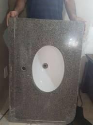 Pia de banheiro de Granito com Cuba Branca