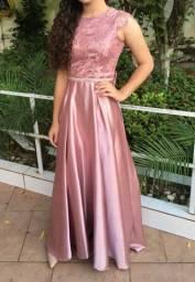 Vestido de festa longo rosa - tamanho P/M