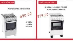 Fogão Mônico novo; C/4 bocas por R$690 e Fogão Ares-Realce C/4bocas por R$579.