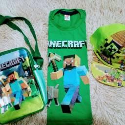Kit infantil bolsa + boné + camisa