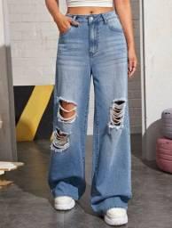 CALÇA SHEIN NUNCA USADA 100% ORIGINAL TAMNH S(P) Azul Botão Simples Vintage Jeans