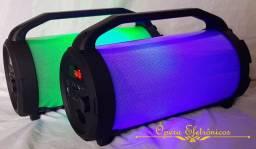 Caixa Bluetooth portátil com led
