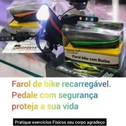 Lanterna Farol Led Bike C/ Buzina Bicicleta Recarregável Usb