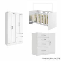Kit completo Quarto do Bebê com Berço 2 em 1 Branco Cestaplus
