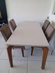 Conjunto de mesa de jantar off-white com 4 cadeiras