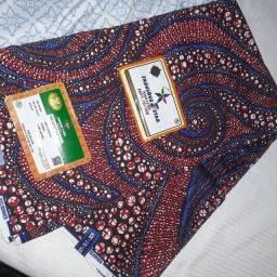 Tecidos em ankara com 5 metros e meio  e conjuntos de alakas e favas de orixas