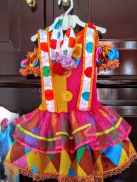 Vestido frevo/palhaço feminino infantil