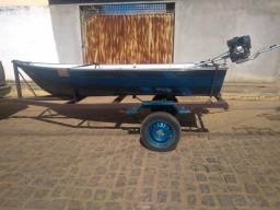 Barco Alumar 3,5 metros + Motor Rabeta 5,5 HP + Carreta - 2003