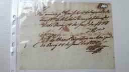 Raro Documento recibo antigo manuscrito de 1797