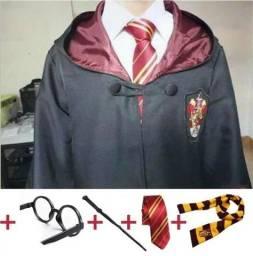 Capa Harry Potter + oculos + varinha + gravata+ cachecol